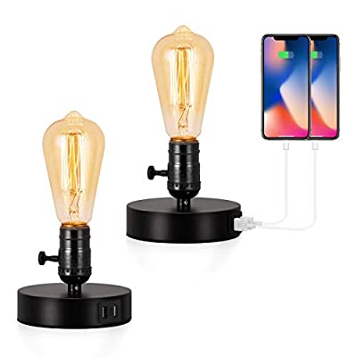 BTY Vintage Table Lamps Set of 2, Table Lamp Base with 2 USB Port Industrial Table Lamp USB Small Nightstand Lamp Holder for Table, Bedside, Bedroom E26 (Black)