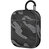 Sbamdon AirPods Case Cover Designed for AirPods 2 & 1 Protective Case Cover Skin with Keychain for Men Wireless Charging Front LED Visible, Black Camouflage