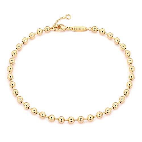 BENEIGE 4MM Ball Bracelet 14K Gold Plated Adjustable Beaded Bracelets for Women