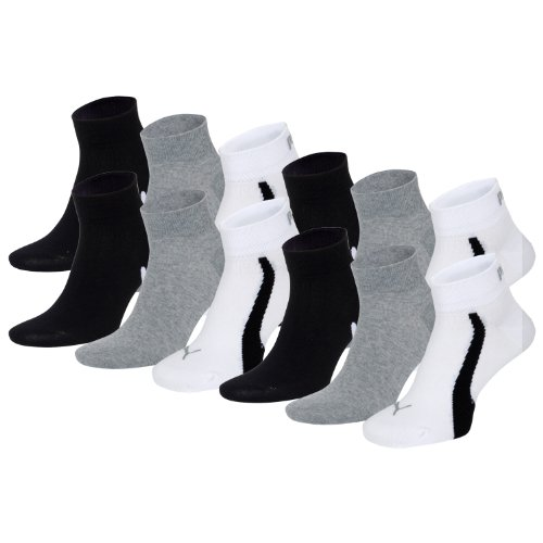 PUMA Unisex Winner Quarter Sport Socken Sportsocken 12er Pack white / grey / black 325 - 39/42