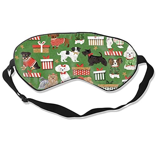 Mascarilla de dormir para perros de Navidad, color blanco y negro, para dormir con los ojos vendados, almohada de algodón suave para mujeres y hombres, viaje siestas personalizadas