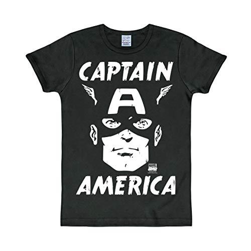 Logoshirt - Marvel Comics - Captain America - Portrait - Slimfit T-Shirt - Noir - Design Original sous Licence, Taille L