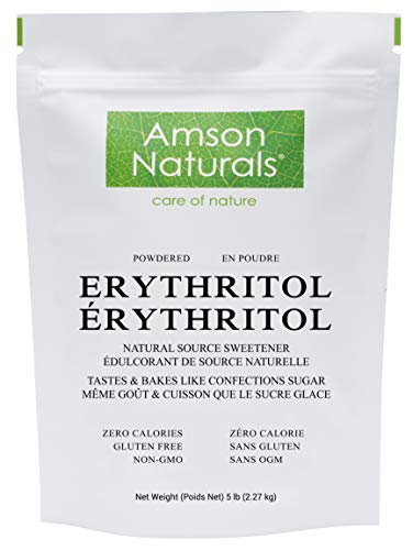 Erythritol Powdered Sweetener 5 lb / 2.27 Kg / 80 oz - Confectioners, Natural Source Sugar Substitute, No Calorie, Non-GMO, Gluten-Free, Use it for frostings, icings, or dust it Over Desserts, Baked Foods.