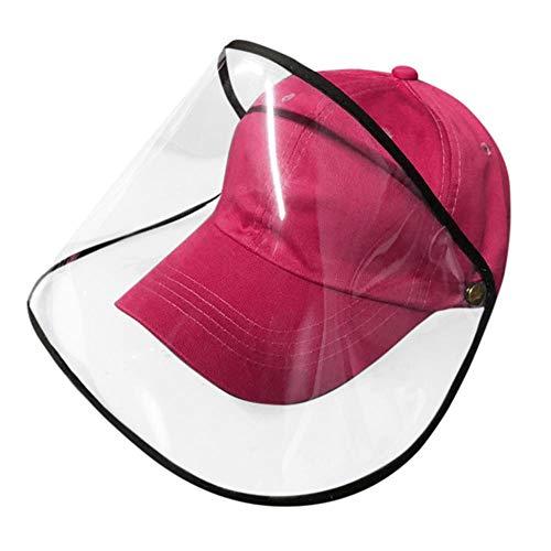 Schutzhut Staubdichte Abdeckung Schirmmütze Verstellbare Größe Sonnenhut Abnehmbare Gesichtskopfabdeckung Außenhut-Pink