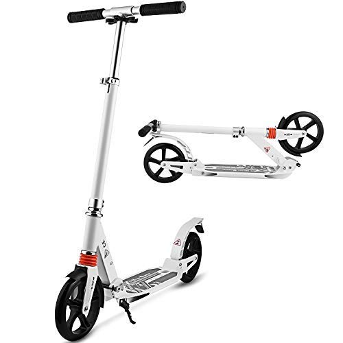 JLWDD Adult Scooter Easy Folding, Lightweight Kick Scooter with Rear Fender Brake, 200mm Big Wheels, 220 lbs Weight Capacity