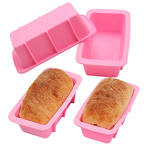 BAKER DEPOT Set of 4 Silicone Mini Bread Loaf Pans for Baking Nonstick Small Toast Cake Bakeware 6.5 inch Rectangle Mould DIY Handmade Soap