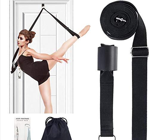 Door Flexibility & Stretching Leg Strap - Great for Ballet Cheer Dance Gymnastics or ANY Sport Leg Stretcher Door Flexibility Trainer Premium stretching equipment (Black)