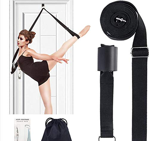 Door Flexibility & Stretching Leg Strap - Great for Ballet Cheer Dance Gymnastics or ANY Sport Leg Stretcher Door Flexibility Trainer Premium stretching equipment (Black)