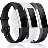 Maledan Replacement Bands Compatible for Fitbit Alta, Alta HR and Fitbit Ace, Classic Accessories Band Sport Strap for Fitbit Alta HR, Fitbit Alta and Fitbit Ace, 3 Pack, Black/White/Gray, Large