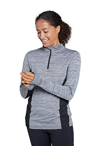 Mountain Warehouse Camiseta Pacesetter con Media Cremallera - Paneles de Malla Transpirable, Ribetes Reflectantes, Ligera y Absorbente - para Actividades en Invierno Negro 38