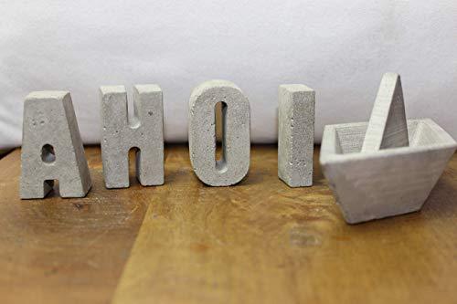 Betonbuchstaben, Buchstaben aus Beton A-Z, UND Symbol