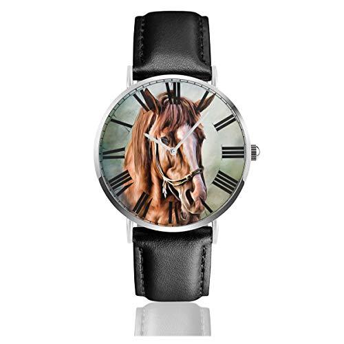 PecoStar Pferdegemälde Herren/Damen Lederband Uhren Business Analog Quarz Wasserdicht Armbanduhr Casual Armbanduhr mit Lederband