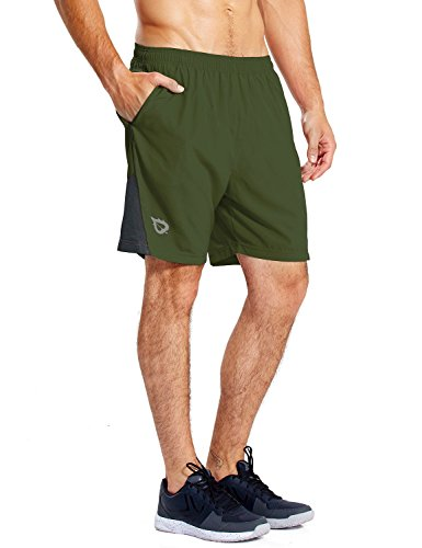BALEAF Men's 7'' Athletic Running Shorts Quick Dry Mesh Liner Zip Pocket Fathers Day Army Green Size XL