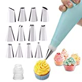 WJIASI Silicone Piping Bags and Nozzle,Silicone Icing Piping Cream Pastry Bag and 12 Pcs Piping Nozzle Set for Cake Decorating