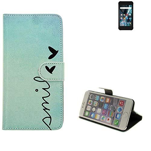 K-S-Trade® Schutzhülle Für Archos Sense 47X Hülle Wallet Case Flip Cover Tasche Bookstyle Etui Handyhülle ''Smile'' Türkis Standfunktion Kameraschutz (1Stk)