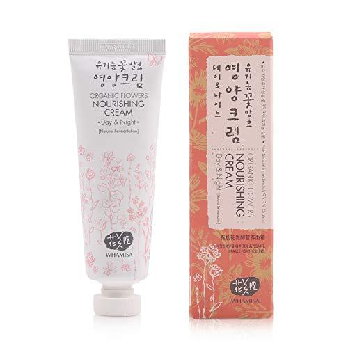 WHAMISA Organic Flowers Nourishing Cream - Korean Skin Care Gesichtscreme Damen für intensive Feuchtigkeit Nährstoffe und Reduktion der Hautalterung - Koreanische Tagespflege Sanft Fermentiert - 50ml
