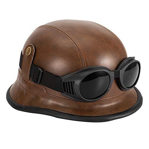 Qii lu Casco de Moto de Media Cara, Gafas de Casco Protectoras de Moto Vintage Marrones universales con Visera para el Sol Adecuado para Todas Las Estaciones