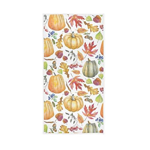 LUCKYEAH Toallas de mano de algodón con diseño de calabaza para otoño y hojas de arce, para niñas, mujeres, niños, toallas de mano suaves y absorbentes, para casa, hotel, piscina, gimnasio, 76 x 38 cm