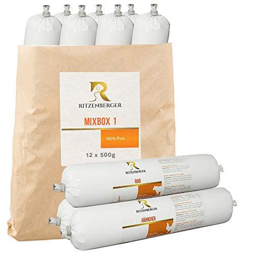Ritzenberger Mix-Box 1 Pure Fleischrolle 12 x 500g (6,0kg)   Fleischfutter vom Metzgermeister