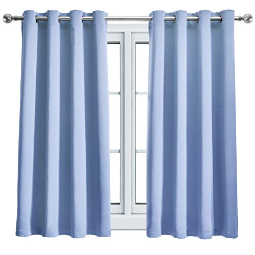 Wontex Blackout Curtains Room Darkening Thermal Insulated with Grommet for Living Room, 52 x 63 inch, Light Blue, 2 Curtain Panels