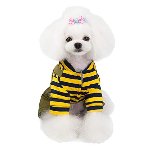 YOUJIAA Haustier Winterkleidung Streifen Gedruckt Tops Overall Anzug Fleece Atmungsaktive Hund Katze Outwear (Gelb, CN M)