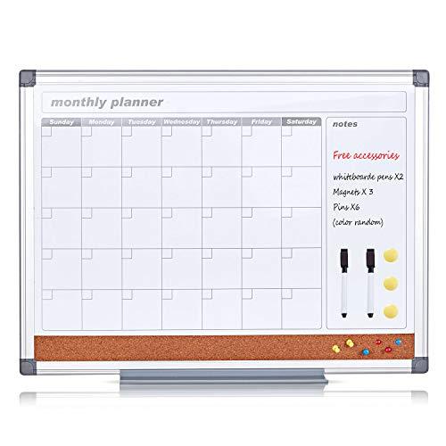 S SWANCROWN Calendario borrado magnética en seco tabla de planificación de pared con 2 marcadores de borrado en seco, 3 imanes y 6 pines A1 (90 * 60 cm)