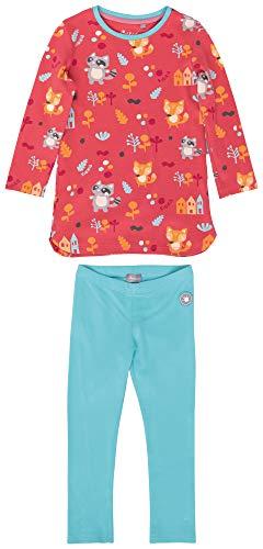 Sigikid Mädchen Mini Pyjama 2-teilig aus Bio-Baumwolle, Größe 086-128 Pyjamaset, Rot/Blau, 104