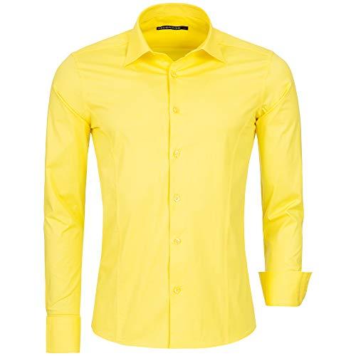 Redbridge Herren Hemd Slim Fit Business Hochzeit Freizeithemd Langarm Bügelleicht R-2111, Gelb (Yellow), Gr. S