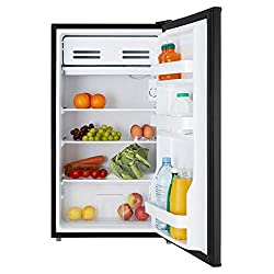 Black under counter fridge with chiller box 47cm wide with adjustable leg Separate chiller compartment A+ Energy saving