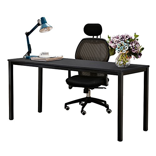 NeedHome Computer Desk 160 x 60x 75 cm PC Escritorio Escritorio de oficina Estación de trabajo para uso de oficina en el hogar Mesa de escritura, mesa de comedor Mesa de conferencia,Negro,AC3CB-160-SH