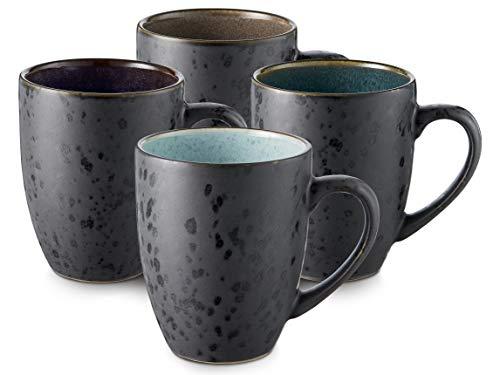 BITZ Kaffee-Becher, Tassen aus Steinzeug, Kaffeetassen mit Henkel, im Set (4 Stück), zweifarbig, 30 cl