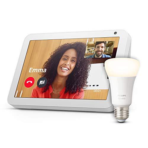 Echo Show 8, Tissu sable + Philips Hue Ampoule Connectée White (E27), compatible avec Bluetooth et Zigbee (aucun hub requis)