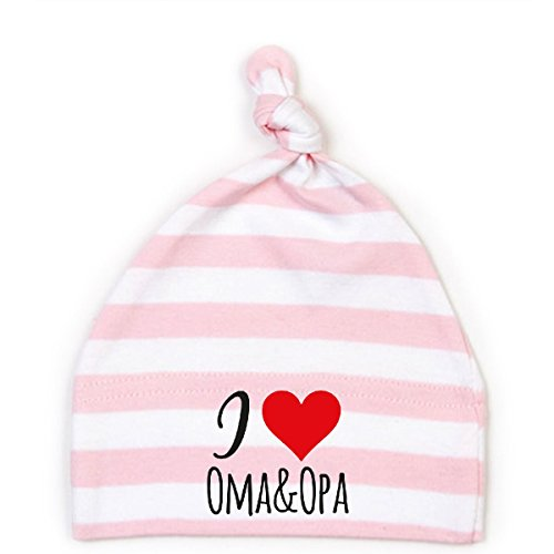 Mikalino Baby Mütze I Love Oma & Opa, Farbe:rosa-White;Grösse:6-12 Monate