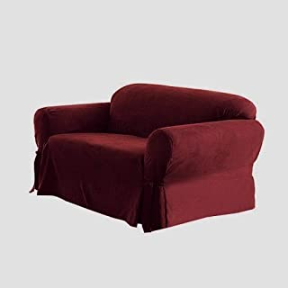 Cozy Beddings Sofa/Couch Slipcover Soft Micro Suede with Elastic Band Under Seat Cushion, Furniture Cover, Burgundy