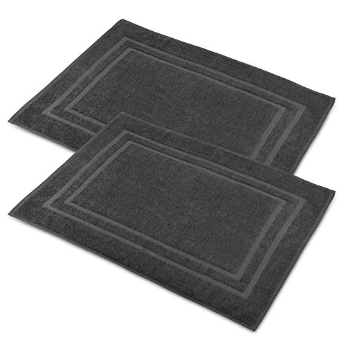 """Talvania Bath Mat Floor Towel for Bathroom – 23"""" x 32"""" Banded Rug - 100% Ring Spun Cotton – Highly Absorbent Machine Washable – 2 Pack Charcoal Gray Non Rubber Backing Mats – Shower Spa Hotel"""
