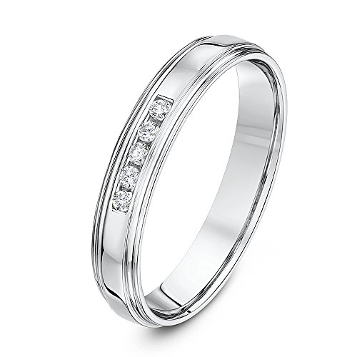 Theia 9ct White Gold Court Shape 0.1ct Round Diamond Channel Set 4mm Wedding Ring - Size T
