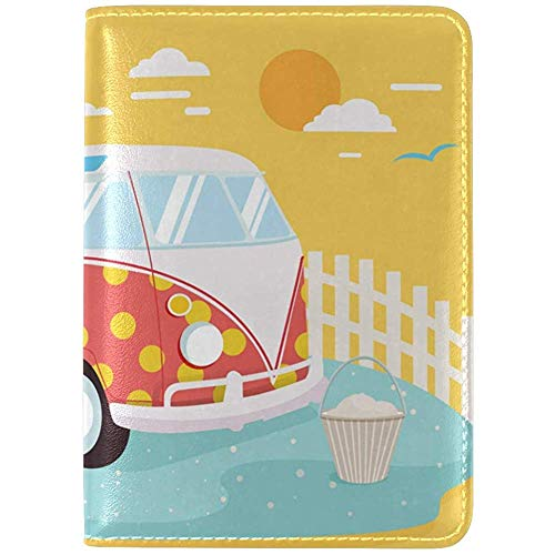 VW Camper Genuine Leather UAS Passport Holder Cover Travel Case