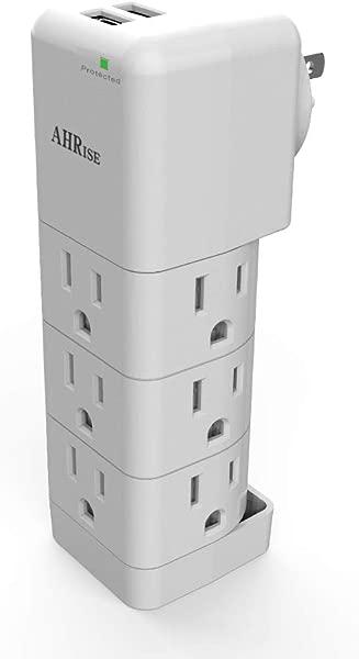 浪涌保护器小型电源板插座分配器 AHRISE 多插头插座带 9 个插座扩展器适配器和 2 个 USB 充电端口 1080 焦耳家庭学校办公室旅行白色