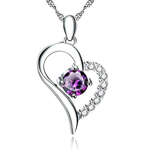 pyongjie Collar de Mujer S S925 Accesorios de Collar de Plata esterlina Configuración Elegante Colgante de Amor Cadena de clavícula Joyería de Regalo