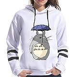 ZRSH Mujer Sudadera con Capucha, 3D Totoro Imprimir Manga Larga Encapuchado Pullover Sudadera Escudo Cordón Más Terciopelo Sudaderas Deportivas Totoro Sudaderas,001,L