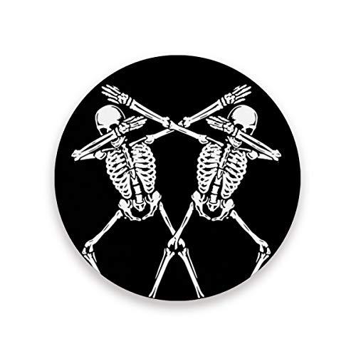 STAYTOP Skr Skull Skeleton Black Coasters, Absorbent Coasters For Drinks Ceramic With Cork Back Coasters, No Holder, Unique Present for Men Women Bar Housewarming Party Home Decor, Set of 2