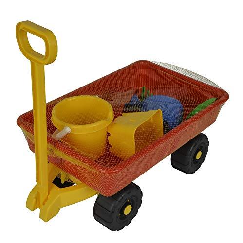 Simba 107130802 - Hand-Sandwagen, 7 Teile, Handwagen 100kg Tragkraft, Eimer, 2x Sandform, Schaufel, Rechen, Gießkanne, 47x30cm, Sandkasten, Sandspielzeug