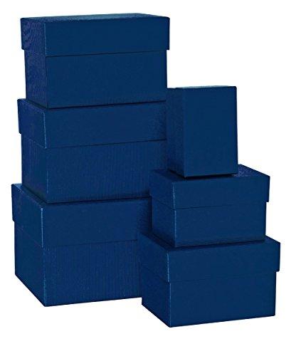 Rössler 1344453900 Boxle Lot de 6 boîtes de rangement rectangulaires en carton de différentes tailles Bleu marine