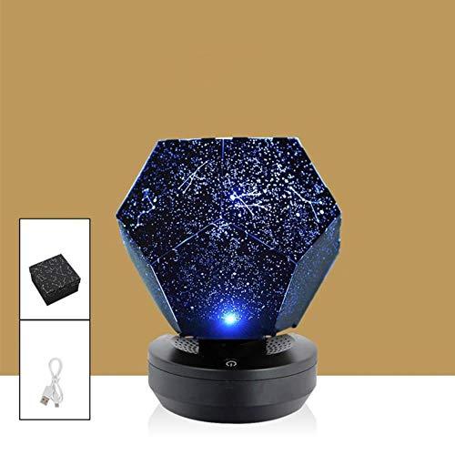 Zshhy Romantic LED Night Light Proyector giratorio Starry Sky Star Lámpara de proyector Carga USB Baby Nursery Light Kids Gift-Blue_light