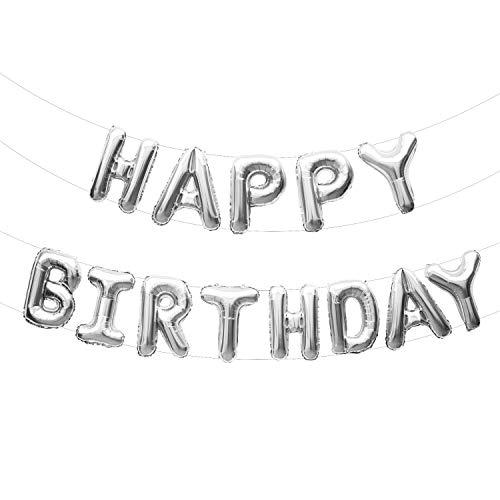 Oblique Unique® Happy Birthday Folienballon Girlande Banner in Silber Glänzend als Geburtstag Party Deko mit 13 Folien Luftballons, Schnur und Strohhalm zum Aufblasen