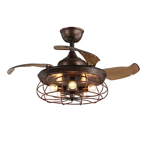 APBEAM Rustic Ceiling Fan with Light and Retractable Reversible Blades Cage Chandelier 36 Inch Fandelier for Living Room Bedroom