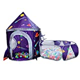 LOJETON 2pc Rocket Ship Kids Play Tent, Ball Pit with Basketball Hoop for Boys, Girls and Toddlers - Indoor/Outdoor Use Pop Up Rocket Tent