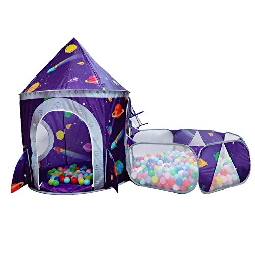 LOJETON 2pc Rocket Ship Kids Play Tent, Ball Pit with Basketball Hoop for Boys, Girls and Toddlers - Indoor Outdoor Use Pop Up Rocket Tent