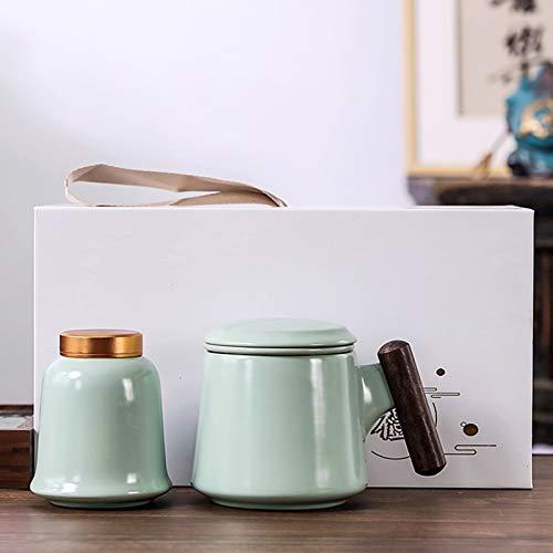 YHX El Horno GE Kiln RU Puede Levantar la Taza de té de Kung Fu, cerámica, Taza de té con Filtro con Tapa, Juego de té