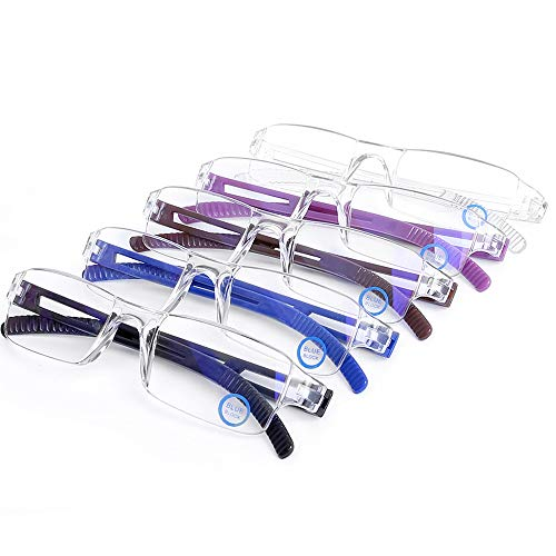Blue Light Blocking Computer Reading Glasses - AQWANO 5 Pack Clear Frame Rimless Readers Anti Glare Filter Lightweight Eyeglasses for Women Men (5 Pack Mix Color, 2.5)